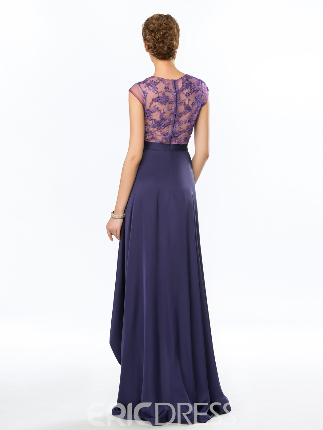 Sexy Back Appliques Lace Asymmetrical Evening Dress