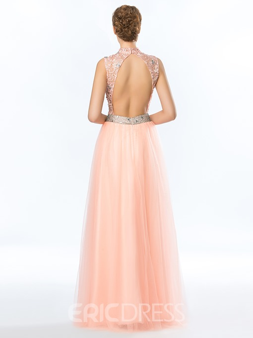 Classy A-Line High Neck Lace Prom Dress