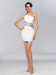 Image of Sheath Beadings One-Shoulder Short Cocktail Dress