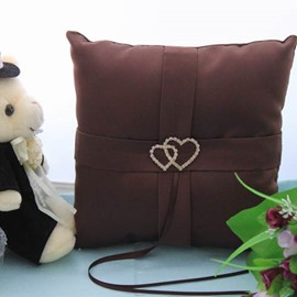 Nice-looking Wedding Ring Pillow In Satin With Loving Hearts