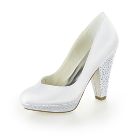 Shinning Chunky Heel White Bridal Shoes