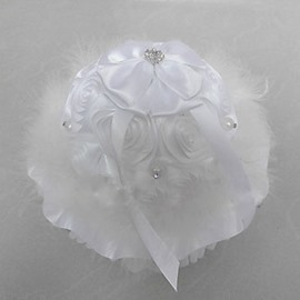 Music Box Ring Pillow With Rhinestones White Feather