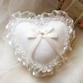 Heart-Shaped Ribbons Laced Ring Pillow