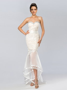 Sweetheart Lace Beadings Asymmetrical Mermaid Evening Dress