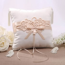 Classy Ring Pillow With Bowknot and Lace