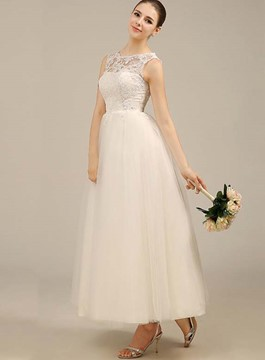 Simple A-Line Ankle Length Wedding Dress