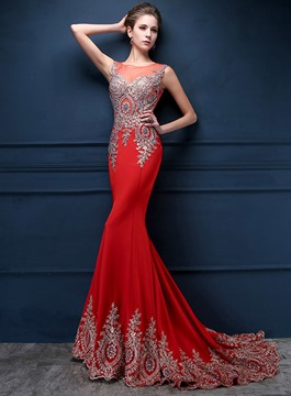 Glorious Jewel Neck Appliques Mermaid Evening Dress