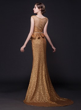 Cap Sleeves Sequins Peplum Sheath Evening Dress