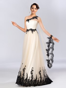 Unique A-line One-Shoulder Appliques Long Sleeves Evening Dress