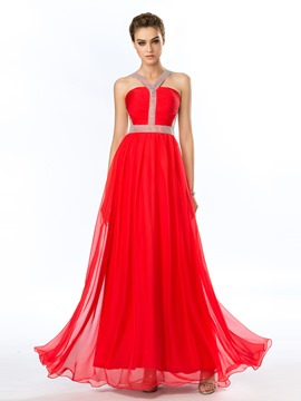 Popular Sheer Back Beading Halter A-Line Prom Dress