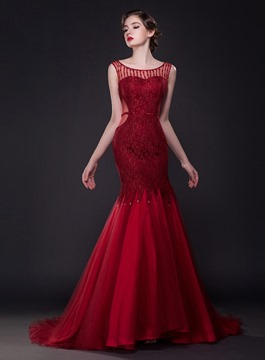 Classy Jewel Neck Sequins Mermaid Tulle Evening Dress