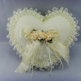 Heart Shaped Ring Pillow with Lace Flowers Pearl