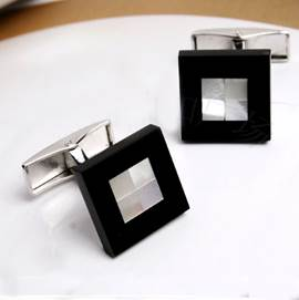 Classical Personalized Black Agate Men's Cufflinks