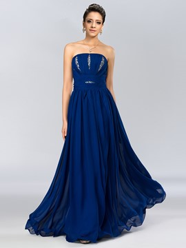 Strapless Pleats Sequins A-Line Long Prom Dress