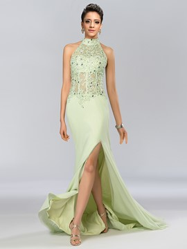 Charming Halter Beading Appliques Split-Front Long Evening Dress