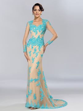 Sheath Long Sleeves Appliques Beading Long Evening Dress