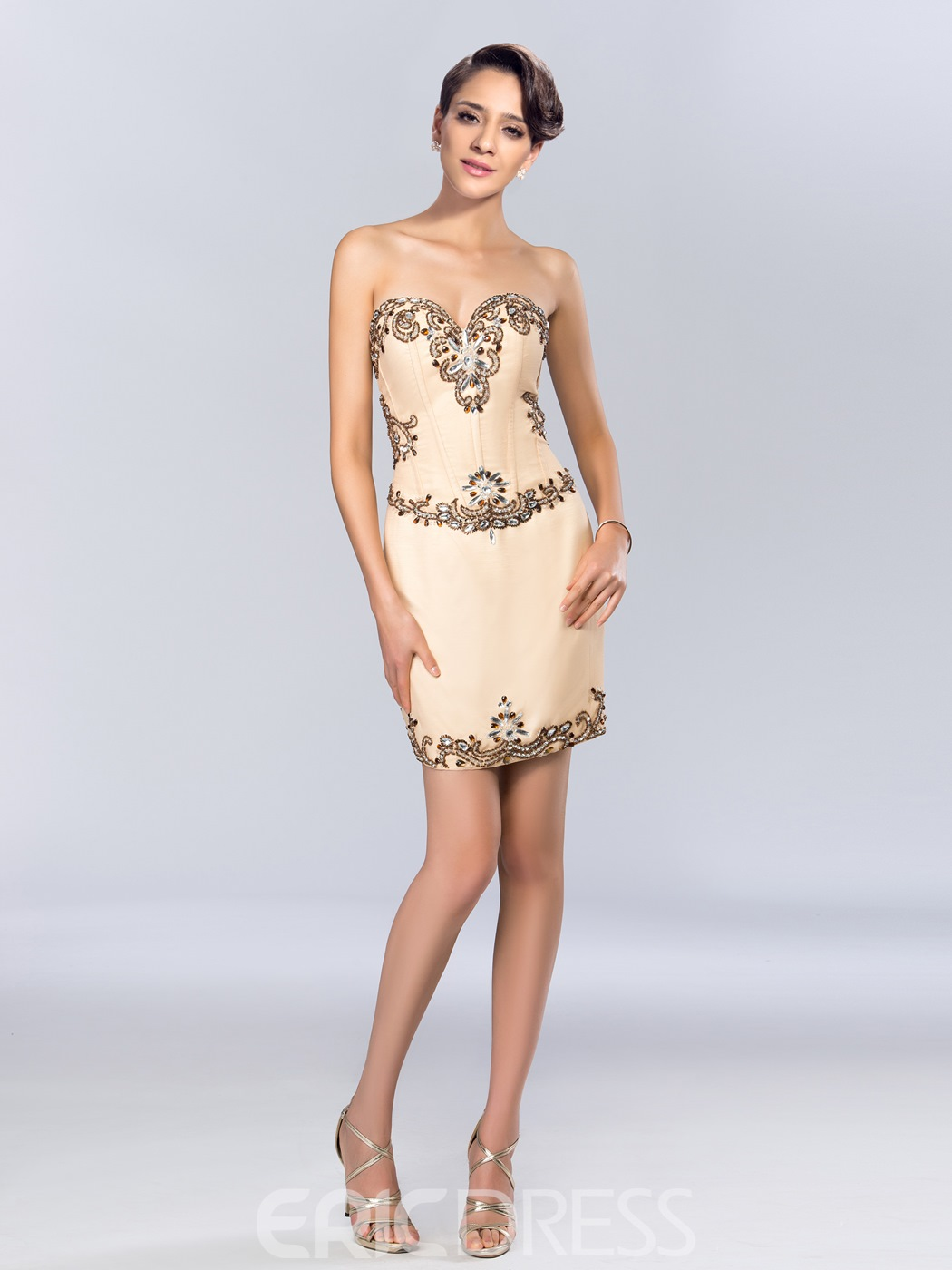 Modern Sweetheart Column Beading Short Cocktail Dress