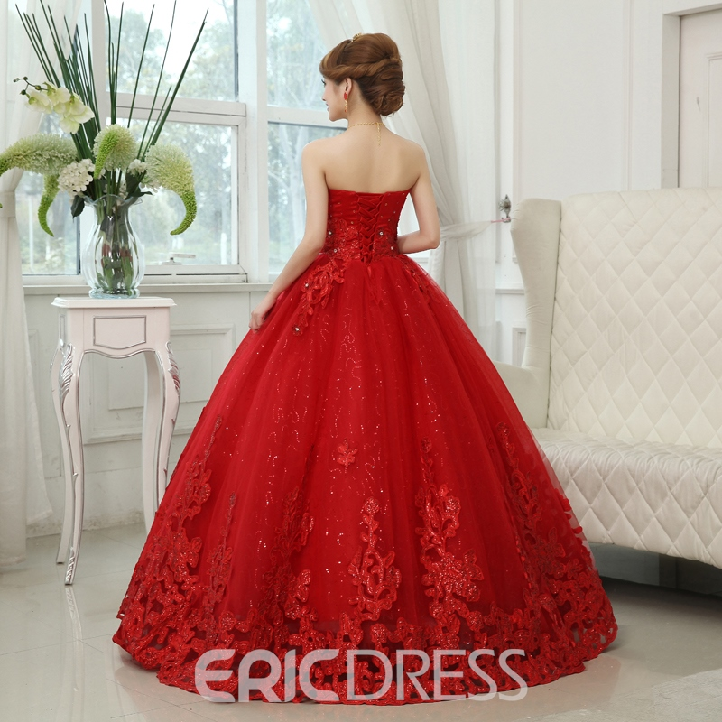 Ericdress Fancy Sweetheart Beading Ball Gown Red Wedding Dress