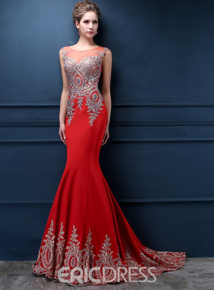 Ericdress Jewel Neck Appliques Mermaid Evening Dress