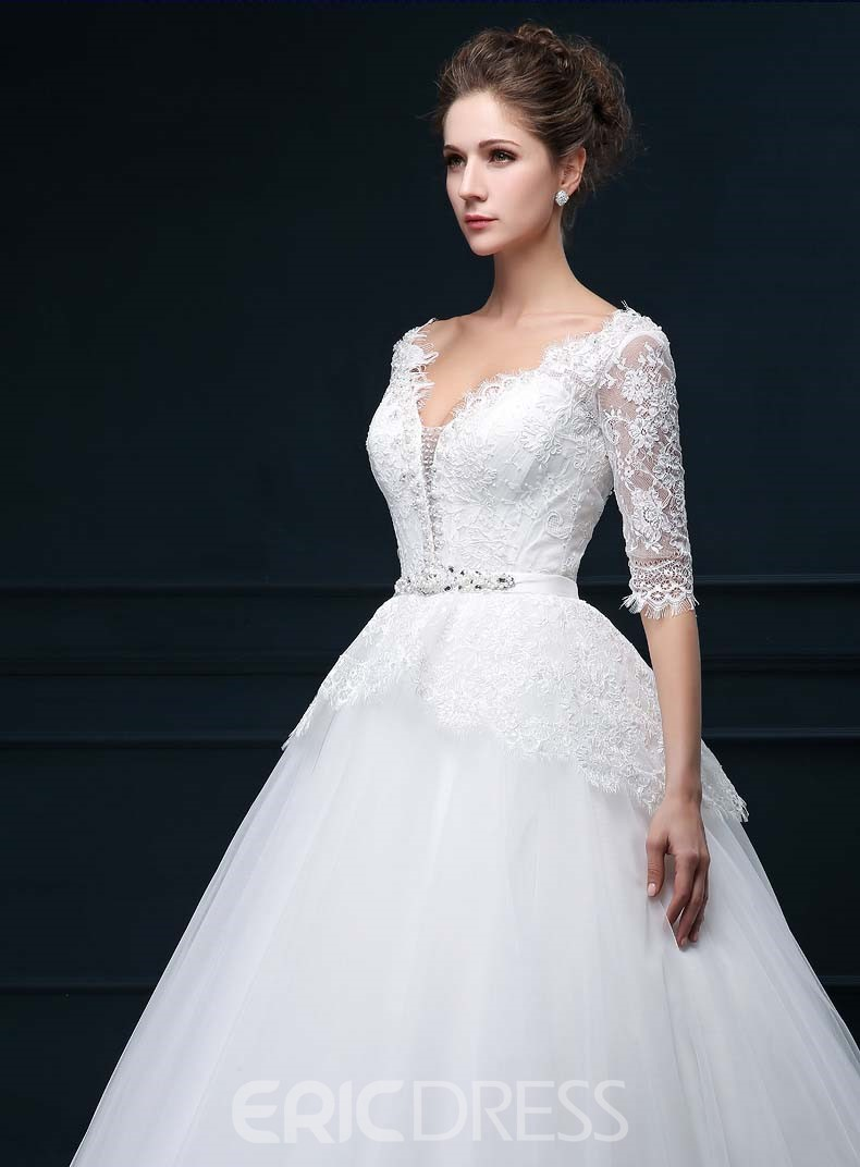 Unique V-Neck Lace Wedding Dress with Sleeves