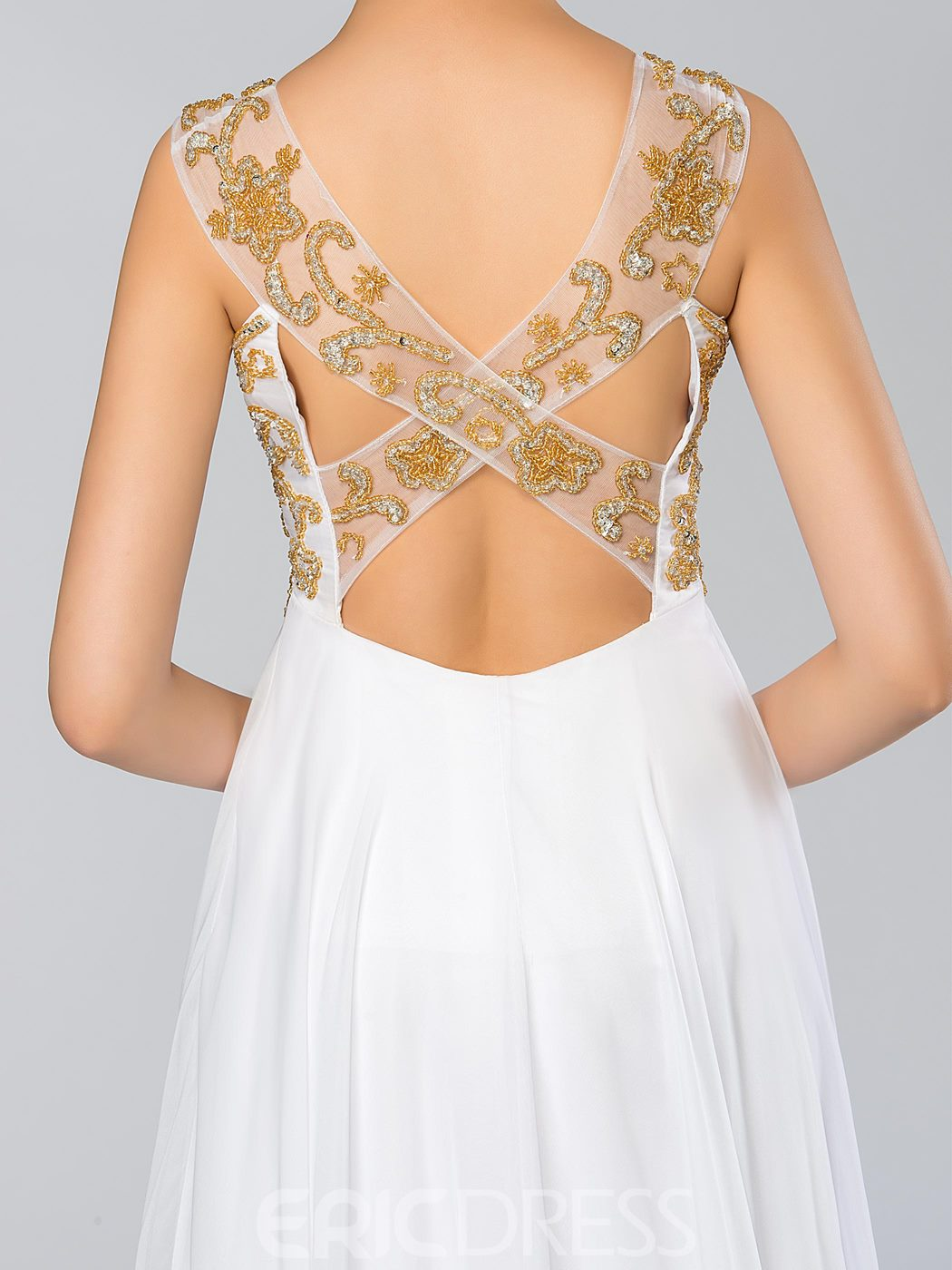 A-Line Scoop Criss-Cross Sequins Evening Dress