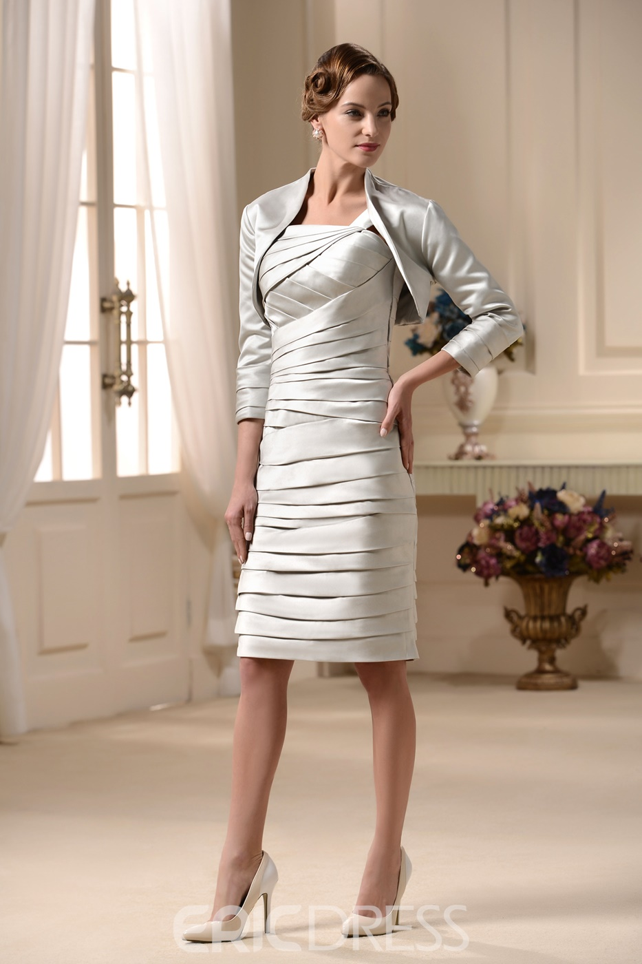 able Tiered Sheath/Column Square Neckline Jacket