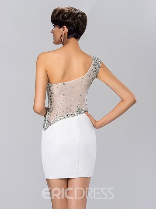 Sheath Beadings One-Shoulder Short Cocktail Dress