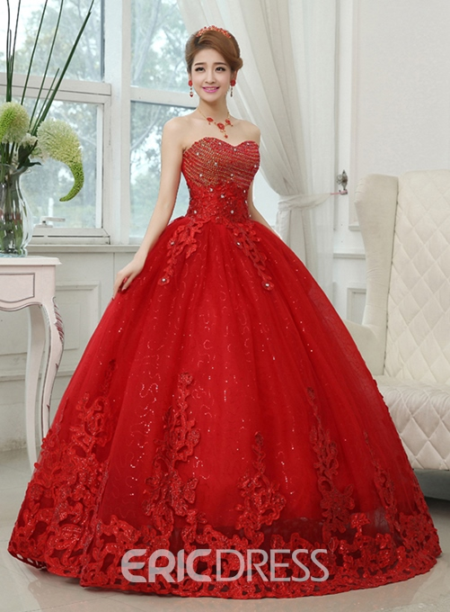Ericdress Sweetheart Appliques Beading Ball Gown Red Wedding Dress