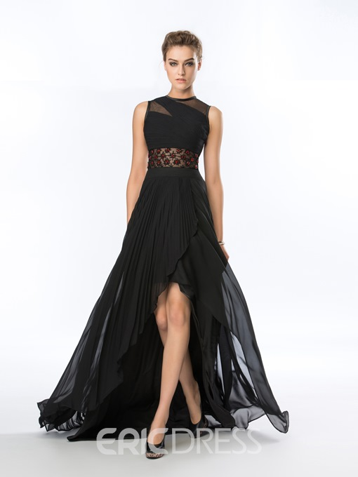 Jewel Neck A-Line Sweep Train Asymmetrical Evening Dress