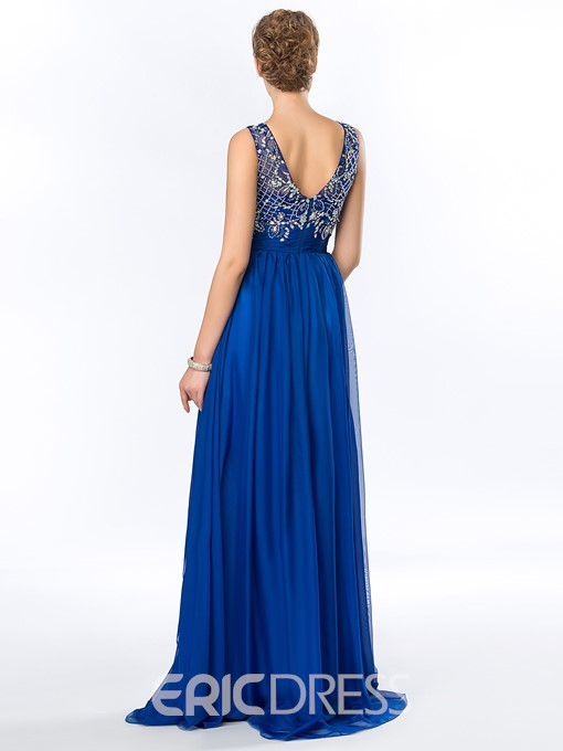 Delicate Beading Sequins Chiffon Floor Length Evening Dress