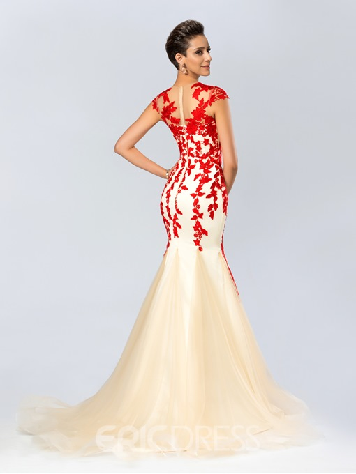 Mermaid Jewel Neckline Appliques Long Evening Dress