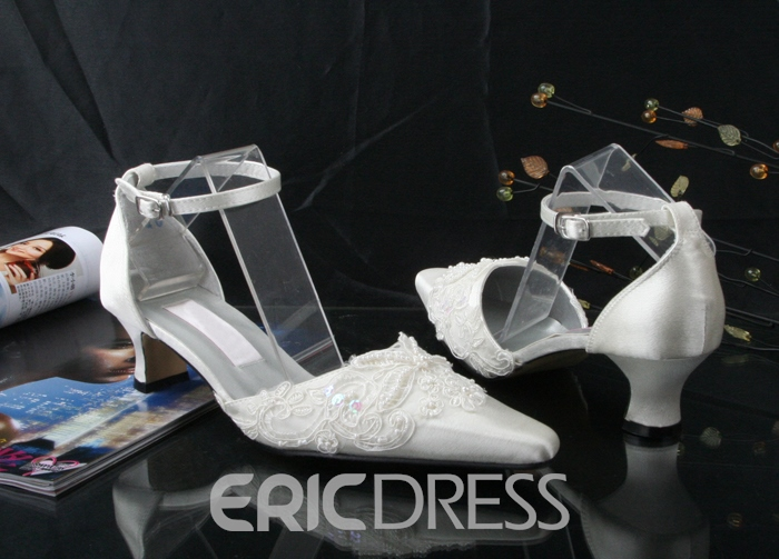 Classy Appliques Point Toe Ankle Strap Low Heel Wedding Shoes