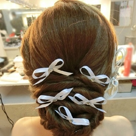 White Bowknot Bridal Hairpins