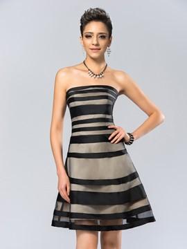 Modern Strapless Tiered A-Line Short Cocktail Dress