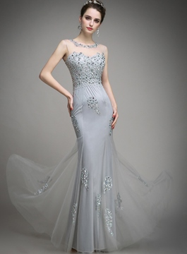 Timeless Jewel Neck Beading Pearl Sheath Evening Dress