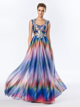 Square Neck Backless Colorful Print Long Evening Dress