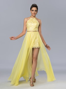 Halter Neck Backless High-Low Lace Prom Dress