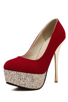 Shining Round Toe Platform Stiletto Heel Pumps