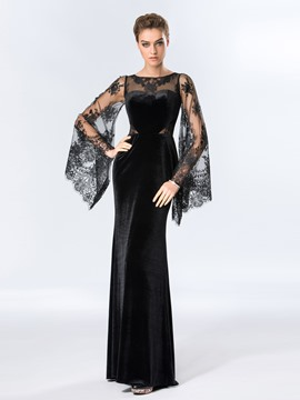 Ladylike Sheath Bateau Neckline Lace Long Evening Dress