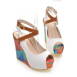Sweet Peep-toe Ankle Strap Wedge Sandals