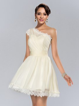 Modern One Shoulder Ruched Short Cocktail Dress