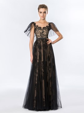 Vintage A-Line Lace Tulle Floor-Length Evening Dress