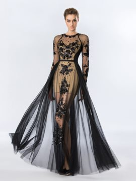 Ericdress Sequins Appliques Long Sleeves Halloween Evening Dress Black Wedding Dresses