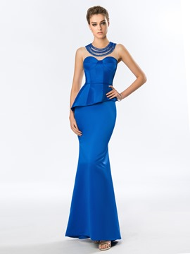 Jewel Beading Sheath Long Evening Dress