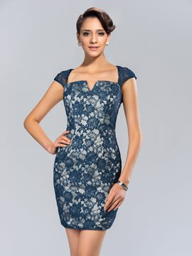 Simple Square Sheath Lace Cocktail Dress