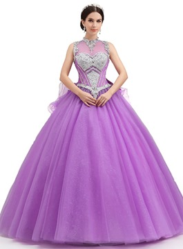 Charming Jewel Neck Bowknot Ball Gown Qquinceanera Dress
