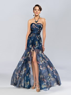 Charming A-Line Split Front Ruched Evening Dress