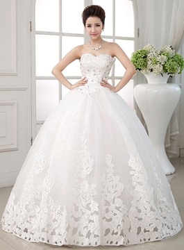 Ball Gown Strapless Lace-Up Ball Gown Wedding Dress