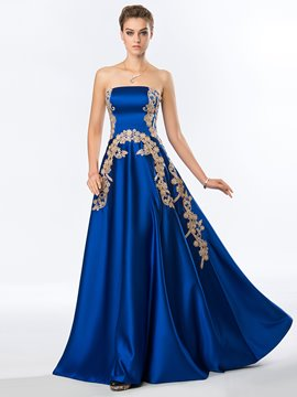 Faddish A-Line Strapless Appliques Sweep Train Evening Dress