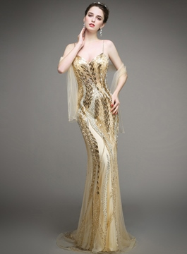 Sparkling Spaghetti Straps Beading Mermaid Evening Dress